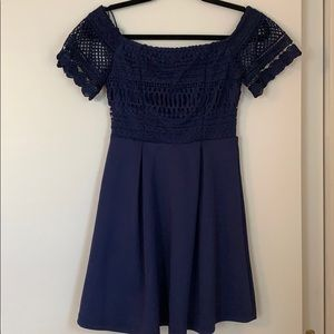 Navy off the shoulder casual dress